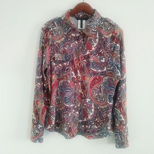 Bcbg Maxazria paisely shirt with front pockets